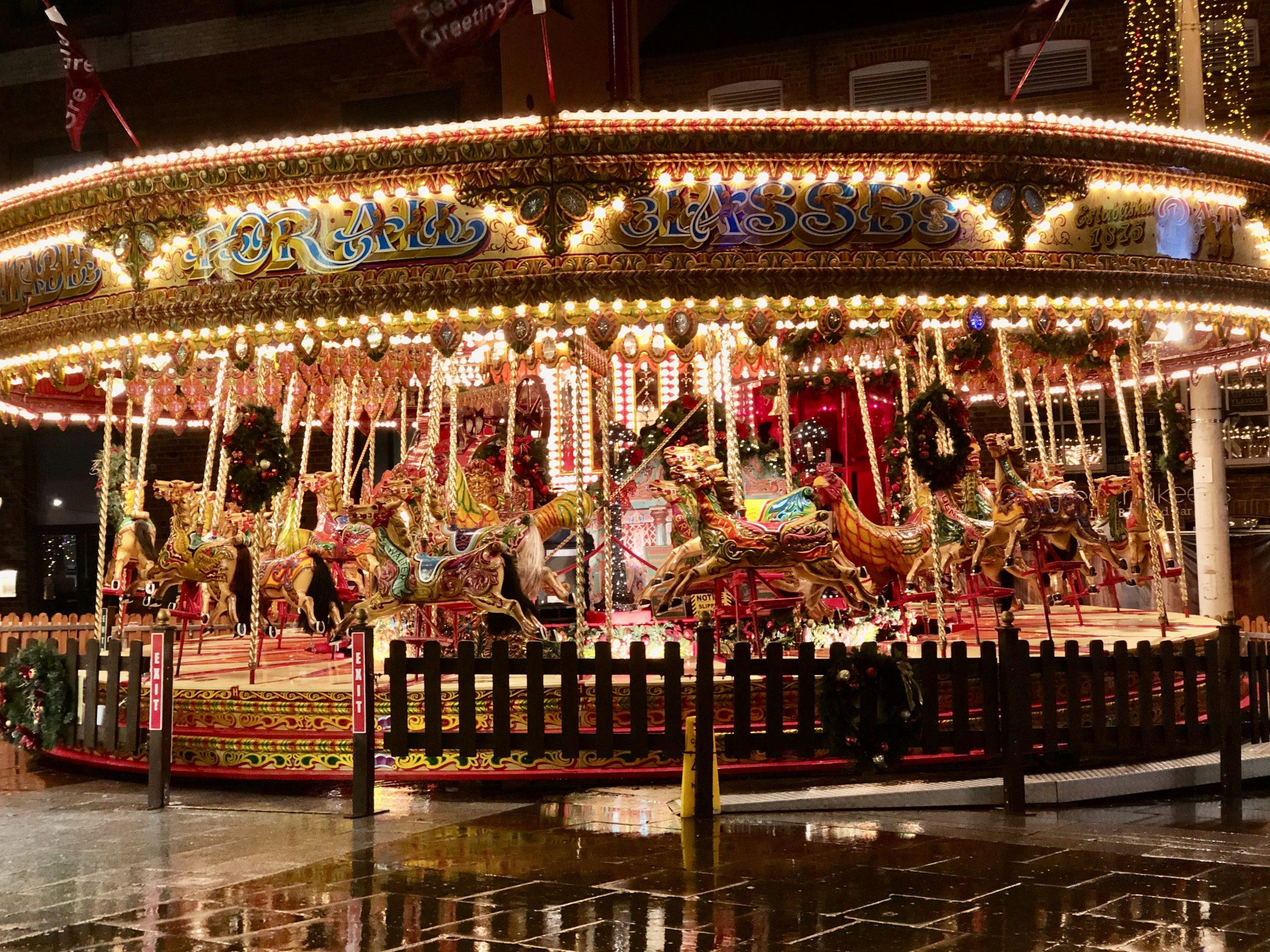 Decorative image of a carousel at Leeds Christmas Market
